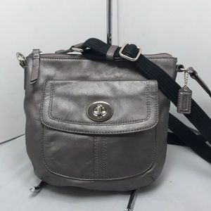 COACH Silver Metallic Leather Crossbody Turnlock